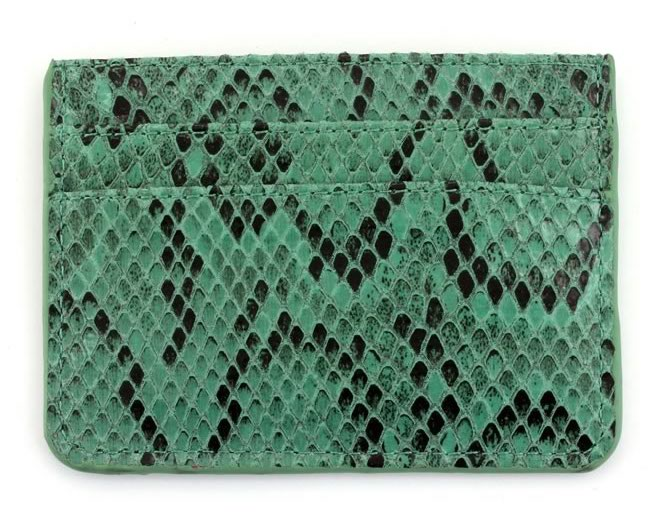 Faux Snake Double Sided Card Holder - Green