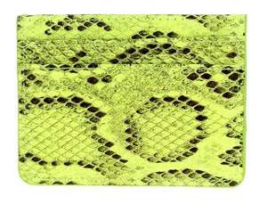 Faux Snake Double Sided Card Holder - Neon Yellow