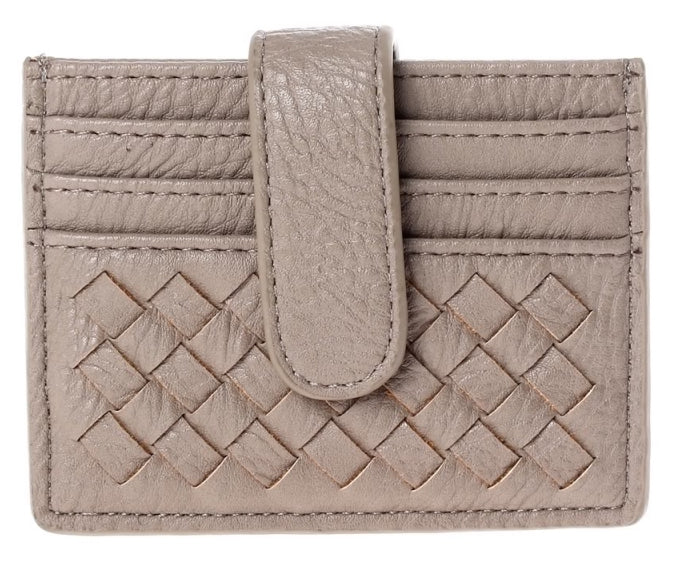 Braided Multi Slot Card Case - Taupe