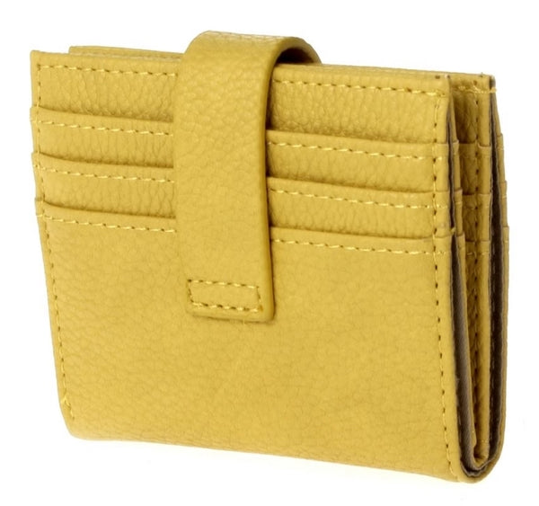 Bi-Fold Pebbled Multi Slots Wallet - Mustard