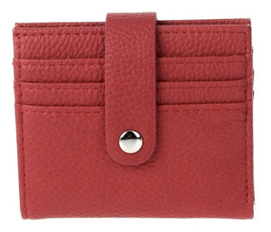 Bi-Fold Pebbled Multi Slots Wallet - Red