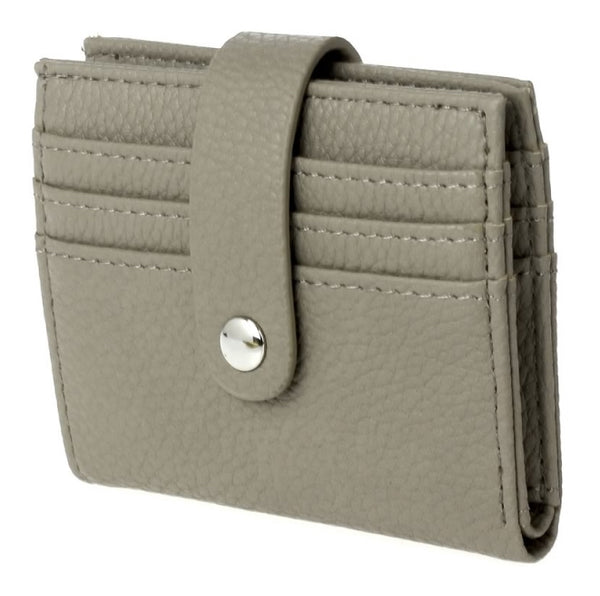 Bi-Fold Pebbled Multi Slots Wallet - Taupe