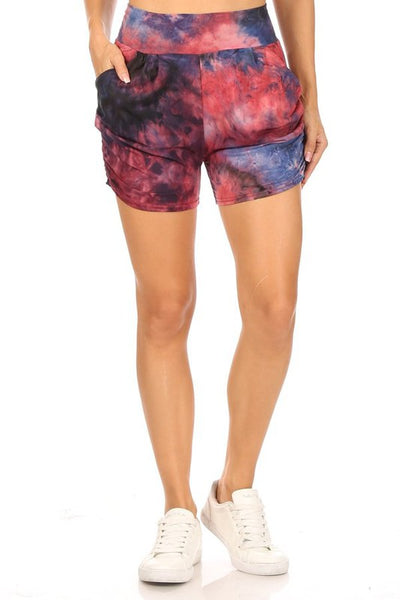 Tie Dye Relax Fit Shorts In Red