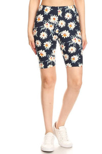 Ultra Soft Biker Shorts in Navy Daisy Print
