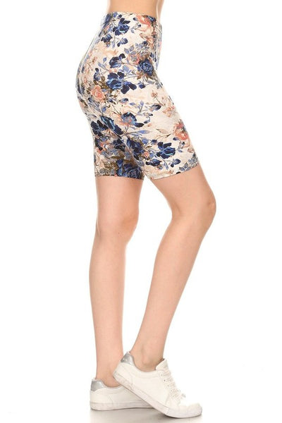 Ultra Soft Biker Shorts in Ivory Floral Print