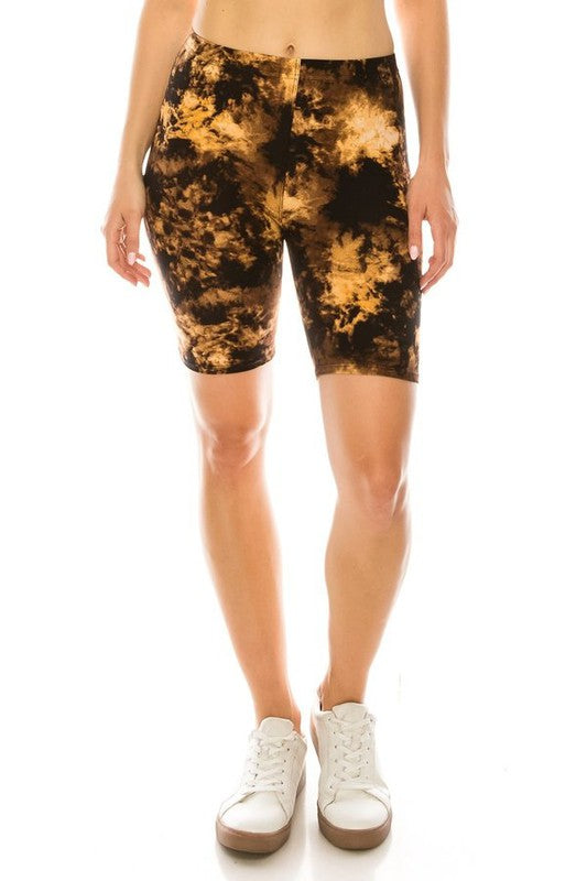 Ultra Soft Biker Shorts in Burnt Tie Dye