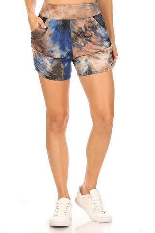 Tie Dye Relax Fit Shorts In Navy