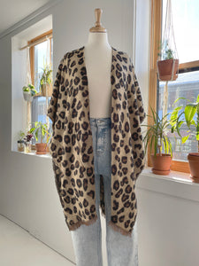 Animal Print Cardigan Shawl in Camel
