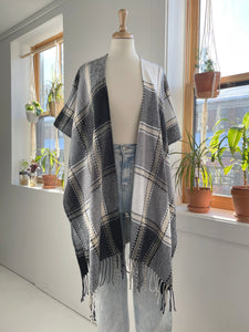 Plaid Cardigan Shawl in Black