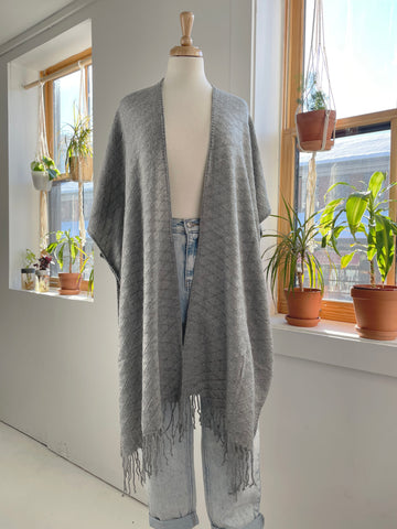 Textured Knit Shawl in Grey