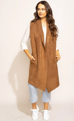 Stockport Cardigan Vest in Brown