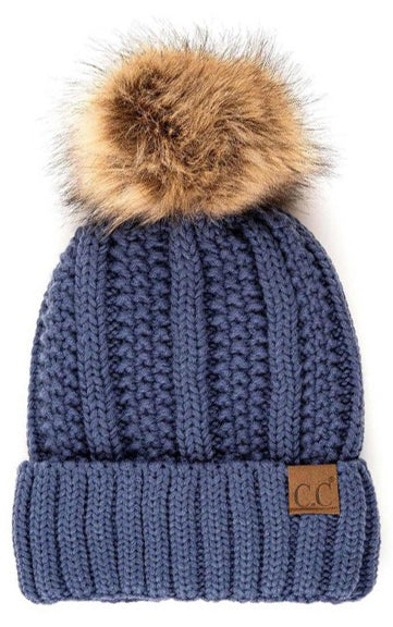 Fuzzy Fleece Lined Pom Pom Beanie in Denim