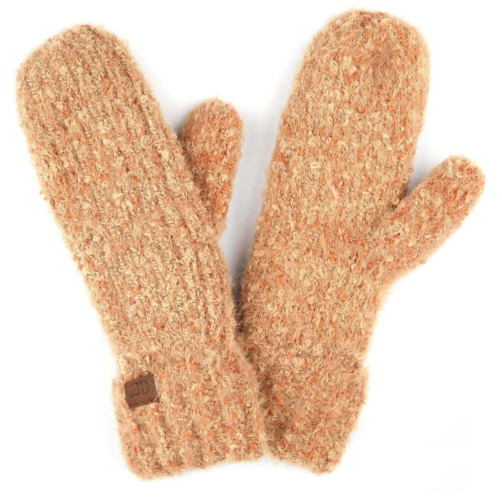 Boucle Yarn Knit Mitts in Apricot