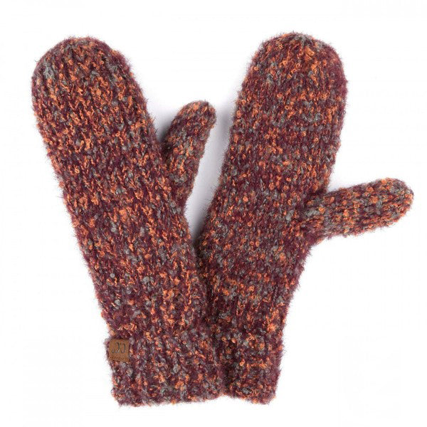 Boucle Yarn Knit Mitts in Plum