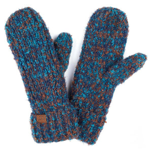 Boucle Yarn Knit Mitts in Teal