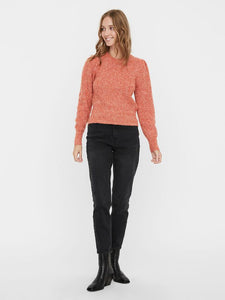 Puffy Sleeve Knit Sweater in Red Clay