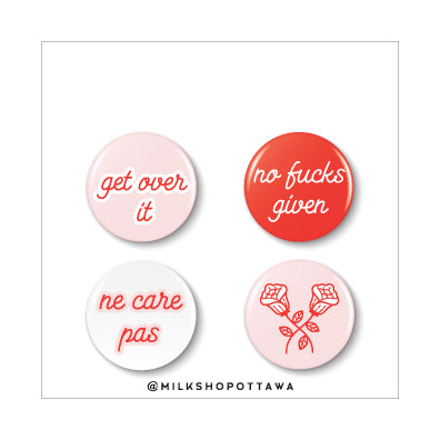 Over It Pinback Button Set
