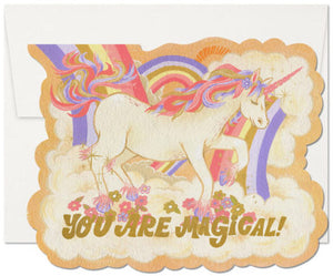 Red Cap Greeting Cards - Magical Floral Unicorn