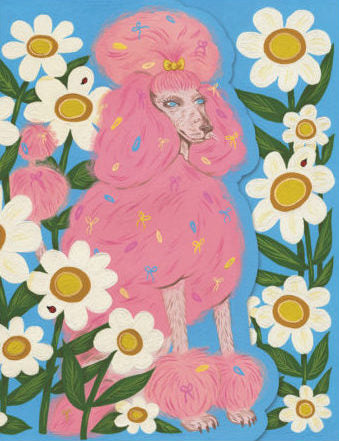 Pink Poodle Greeting Card
