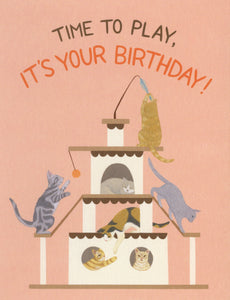 Playful Cats Birthday Greeting Card