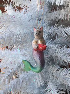 Purrmaid Off White Ornament