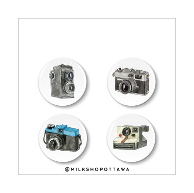 Retro Camera Pinback Button Set