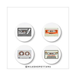 Retro Cassette Pinback Button Set