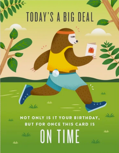 On Time Birthday Greeting Card