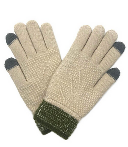 Textured Knit Touch Screen Gloves in Beige