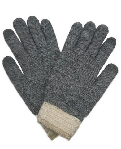 Textured Knit Touch Screen Gloves in Grey