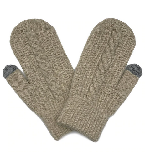 Cable Knitted Touch Screen Mitts in Beige