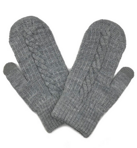 Cable Knitted Touch Screen Mitts in Grey