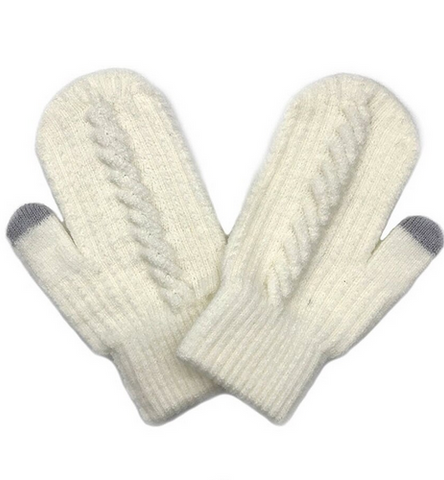 Cable Knitted Touch Screen Mitts in Ivory