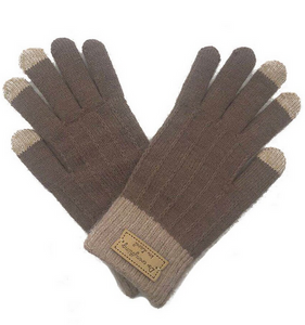 Stripe Knit Touch Screen Gloves in Taupe