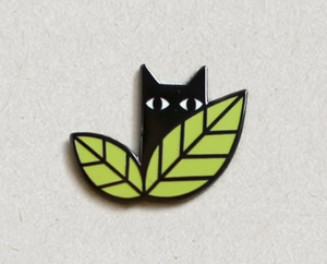 Cats In Leaves Enamel Pin