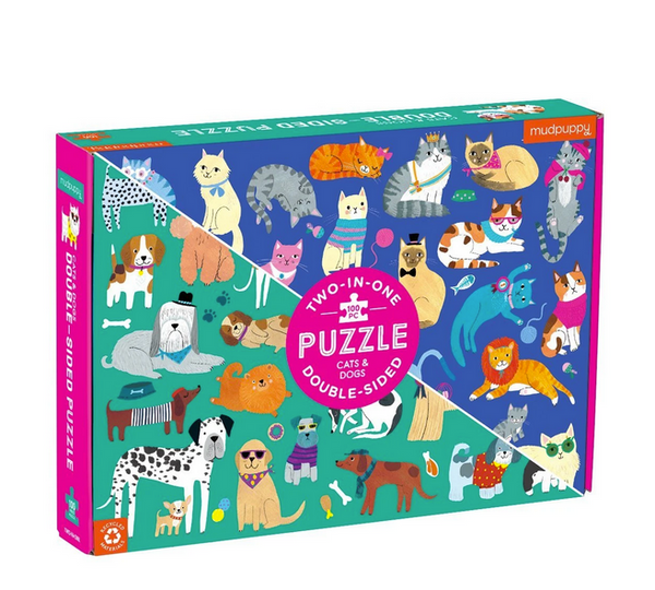 Cats and Dogs Double-Sided Puzzle