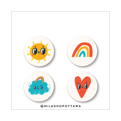 Sunshine Pinback Button Set