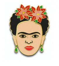 Frida Red Flowers Enamel Pin
