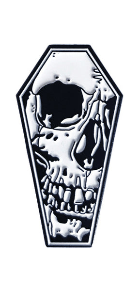 Coffin Skull Enamel Pin