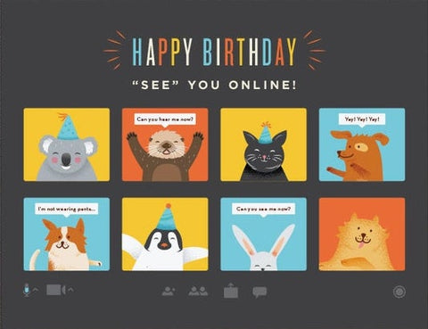 See You Online Birthday Greeting Card