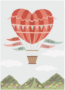 LoveLight Paper Greeting Card - Heart Air Balloon