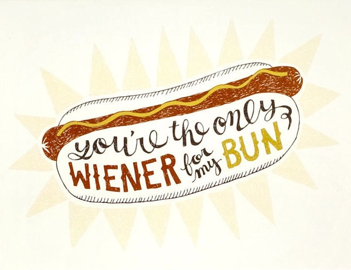 Wiener To My Bun Greeting Card