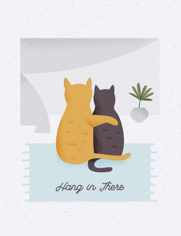 Cat Cuddle - Quirky Paper Greeting Card - Ottawa, Canada
