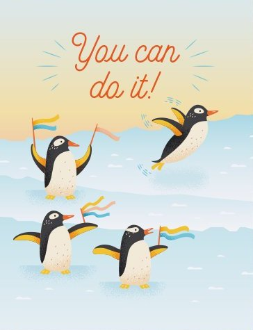 Cheering Penguins - Quirky Paper Greeting Card - Ottawa, Canada