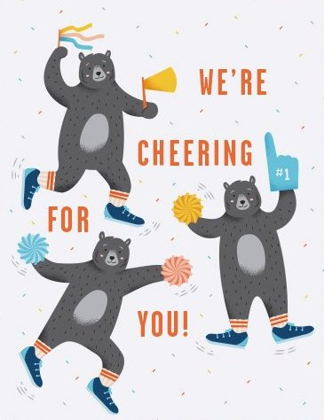 Cheerleader Bears - Quirky Paper Greeting Card - Ottawa, Canada
