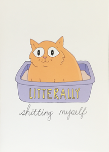 Litterally Shitting Myself - Fineasslines Greeting Card - Ottawa, Canada