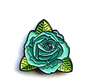 Teal Rose Enamel Pin