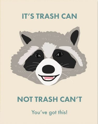 Racoon Trash Can Greeting Card
