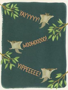 Yeppie Paper Greeting Card - Flying Squirrels Congrats