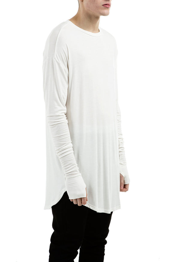 Long Sleeve Under Scoop T-shirt -White